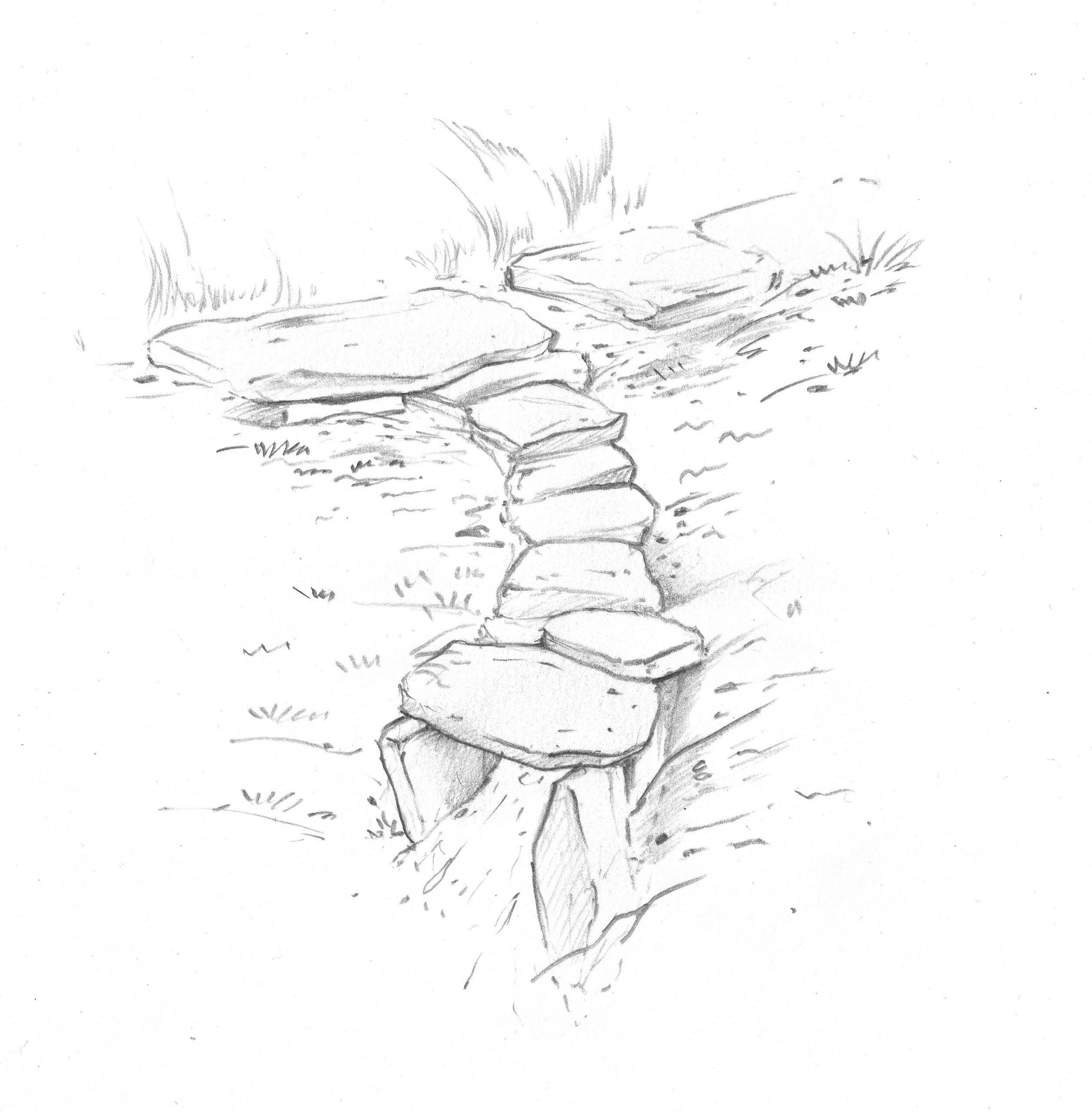 Stokkræsi leiðir vatn frá stíg, stokkurinn fer síðan á kaf