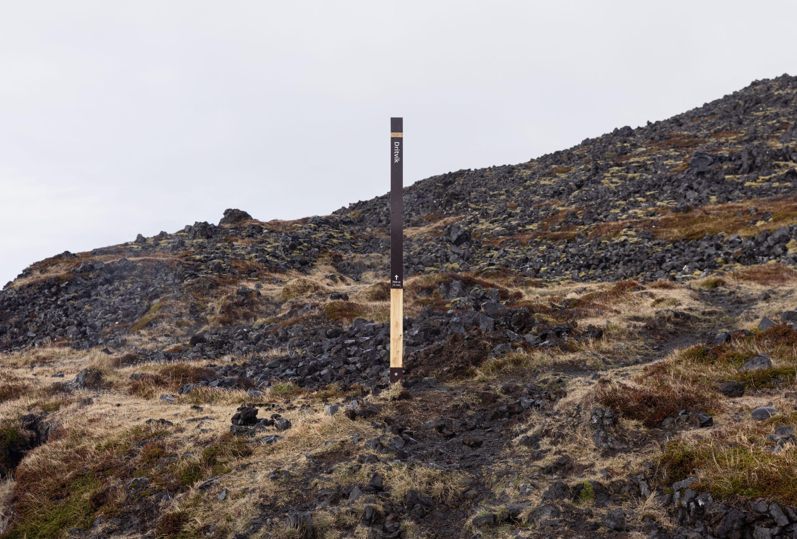 Vegviti við upphaf gönguleiðar.